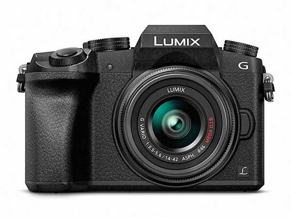 Panasonic Lumix G7 digitális fényképezőgép szemből