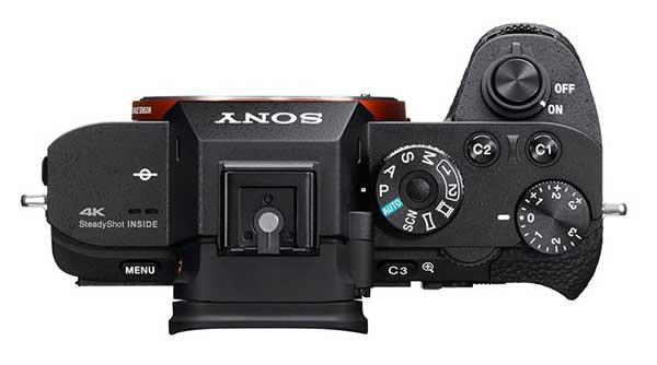Sony α7R II digitális fényképezőgép felülről