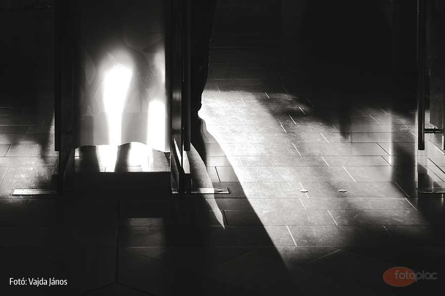 A kiállítási csarnok bejárati részére kívülről bevágó fény érdekes formákat rajzolt az üvegajtó előtt álló alak miatt. A kettős színhőmérsékletű világítás miatt a színvilág elég kiábrándító volt. Színezéssel sárgásvörösessé lehetett volna alakítani a fények színét, de úgy gondolom, a fekete-fehér fénykép tónusokra leegyszerűsített ábrázolása sokkal kifejezőbb minden tekintetben.