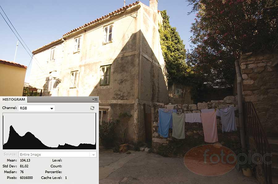 Kontrasztos, nagy árnyalatterjedelemmel rendelkező fénykép hisztogramjával. Jól látható, hogy mindkét végén (árnyékok és csúcsfények) részletek vesznek el.