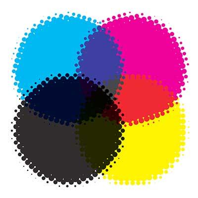 Szubtraktív CMYK színkeverés: a nyomdaipar a tökéletes fekete eléréshez, illetve a takarékosság miatt fekete festéket is használ a nyomatok elkészítéséhez