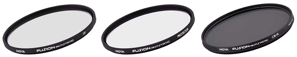 Hoya fotográfiai szűrő Fusion antisztatikus családjának UV, Protektor és cirkulációs polarizációs szűrői