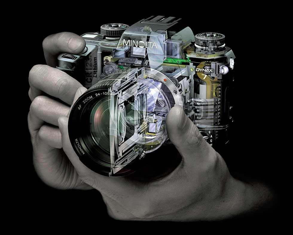 A Minolta korábbi tükörreflexes fényképezőgép élességállítás és egyéb szerkezeti elemeinek röntgenképe
