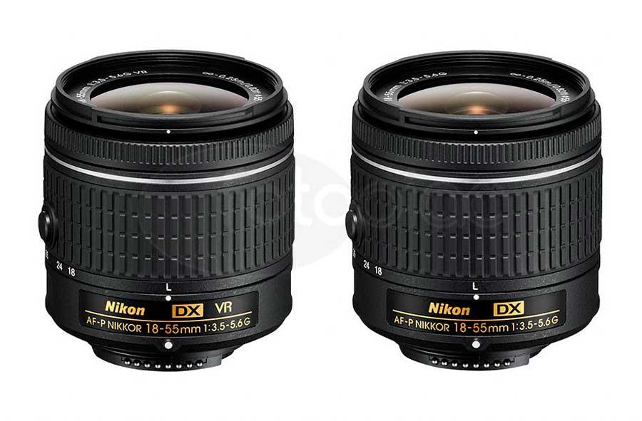 Nikon AF-P DX Nikkor 18–55mm F:3,5–5,6 G VR és az AF-P DX Nikkor 18–55mm F:3,5–5,6 G objektív