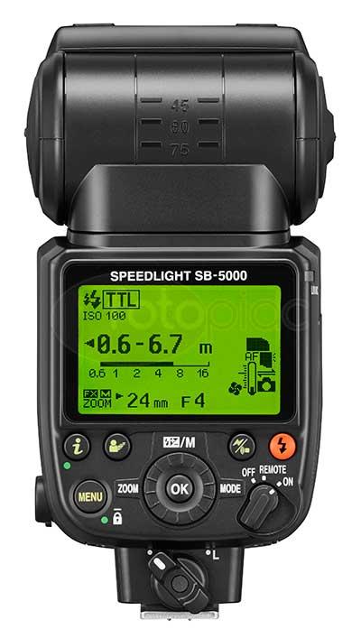 Rádióvezérelt Nikon SB-5000 vaku hátoldal